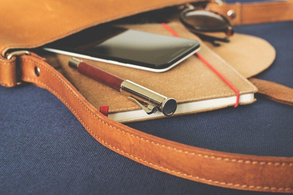 borsa di pelle con penna